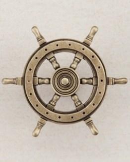 Acorn Manufacturing Ship Wheel Cabinet Knob Antique Brass