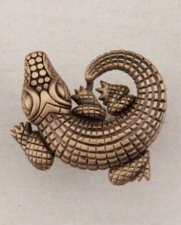 Acorn Manufacturing Alligator Cabinet Knob Museum Gold