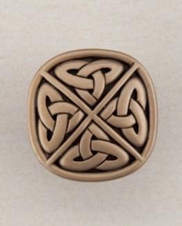 Acorn Manufacturing Celtic Square Cabinet Knob Museum Gold