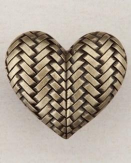 Acorn Manufacturing Woven Heart Cabinet Knob Antique Brass