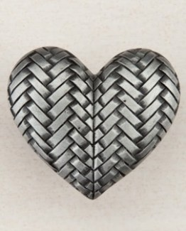 Acorn Manufacturing Woven Heart Cabinet Knob Antique Pewter