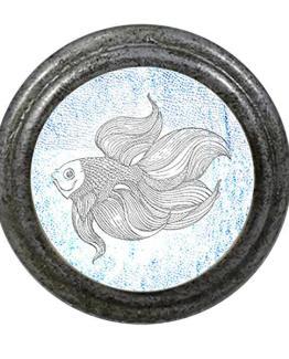 Charleston Knob Company Blue White Molly Fish Cabinet Knob