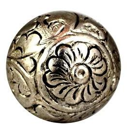 Charleston Knob Company Silver Metal Round Floral Cabinet Knob