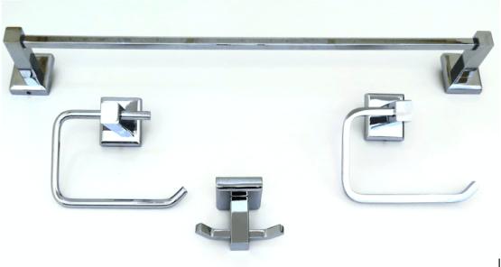 Deco & Deco Four Piece Bathroom Accessory Set Square Base Polished Chrome