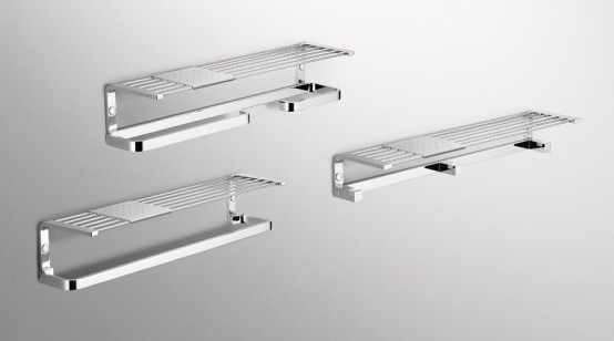 Colombo Design Time Collection Shelf w/Coat Hooks and Tray Chrome