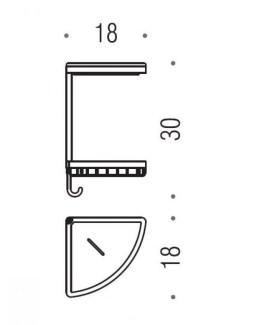 Colombo Designs Double Corner Shower Basket w / Ceramic Dish - Chrome