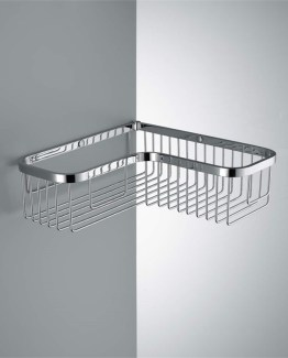 Colombo Designs Single L-Shaped Corner Shower Basket -Chrome