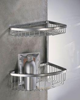 Colombo Designs Small Double Corner Shower Basket - Chrome