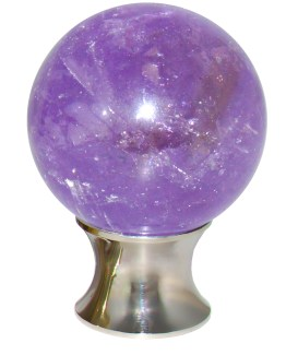 Gemstone Hardware Amethyst Sphere Cabinet Knob-Polished Stainless Steel