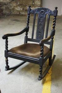 Antique Ebony Rocking Chair - Cabinet of Curiosities