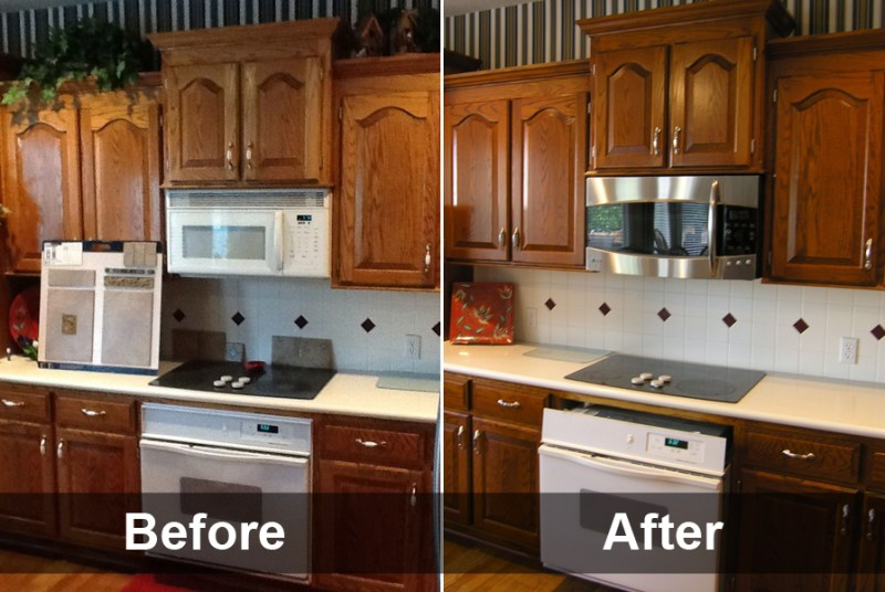 Staining Oak Kitchen Cabinets Before And After Design