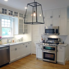 Floating Kitchen Cabinets White Floor Frameless Shaker Style