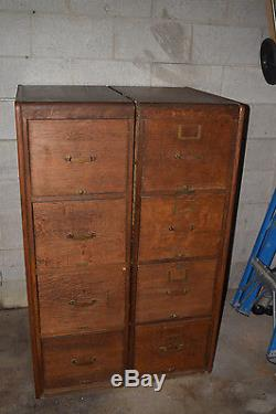 2 Vintage 4 Drawer File Cabinet Library Bureau Makers Oak
