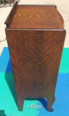 Antique Herzog Tiger Oak 150 Record Storage Cabinet