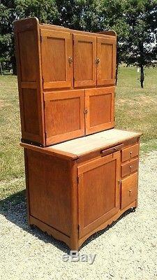 Antique 1900 Hoosier Oak Kitchen Cabinet With Sugar Bin Flour Sifter
