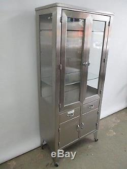Antique Circa 1940s Stainless Steel Medical Display