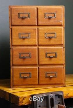 Antique Library 8 Drawer Oak Stackable Wood File Cabinet Vintage Card Catalog