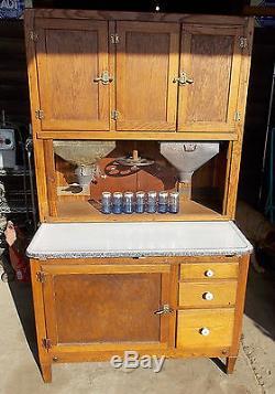 Antique Oak Hoosier Kitchen Cabinet With Flour  Sugar