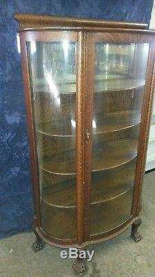 Antique Oak Curio Cabinet Curved Glass Mirrored Back Claw