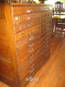 Antique Oak Flat File Chest 24 Drawers Architect Artist