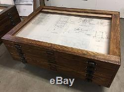mission style kitchen table island outlet antique oak hamilton flat file map blueprint cabinet ...