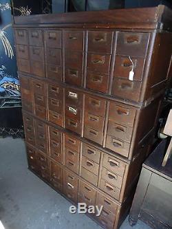 Antique Vintage Oak Library Card Catalog File Cabinet 72