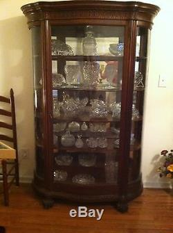 China Cabinet Antique 1800s Curved Glass 6 Tall Dark Oak