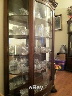 China Cabinet Antique 1800s Curved Glass 6 Tall Dark Oak Claw Feet Elegant