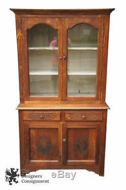 Primitive Antique Oak Carved Stepback Cupboard China