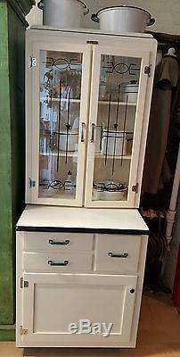 vintage kitchen hutch curtain rare junior hoosier cabinet glass front doors, bread ...