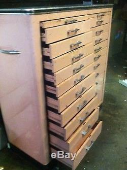 Vintage 22 Drawer Metal Enamel Dentist Dental Apothecary