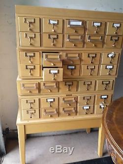 industrial kitchen table blanco sink vintage 35 drawer blond wood index library card catalog ...