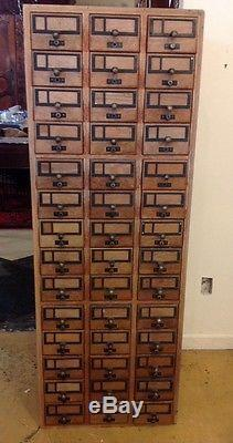 Vintage Oak Wooden 84 Drawer Library Card Catalog Cabinet Yale