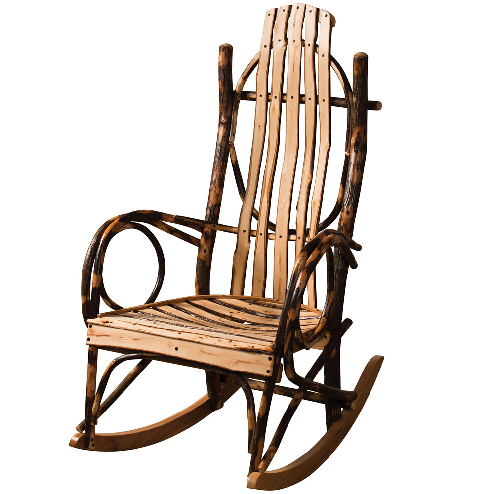Amish Rocking Chair Hickory Live Edge Amish Rocking Chair