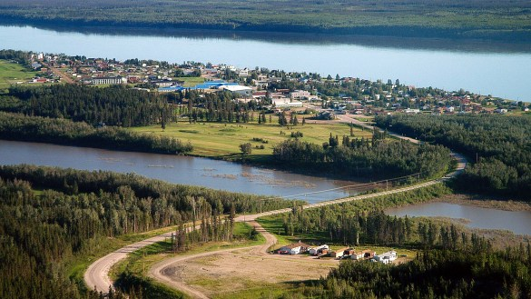 An aerial view of the community of Fort Simpson - Pat Kane