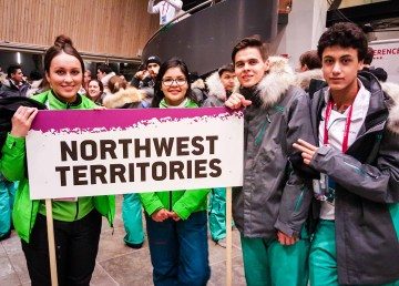 Athletes representing Team NWT prepare for the 2016 Arctic Winter Games opening ceremony in Nuuk, Greenland - Ollie Williams