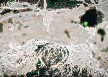 Sandpits seen from a Google Maps satellite view
