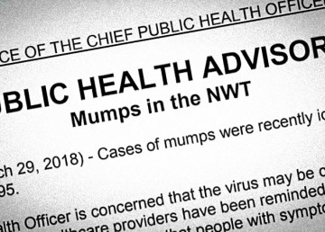 A screenshot of a public health advisory issued by the Northwest Territories' chief public health officer in March 2018