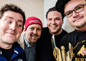 Cullen Crozier, right, poses with his Canadian Screen Award alongside, from left - Ollie, Loren McGinnis, and Jesse