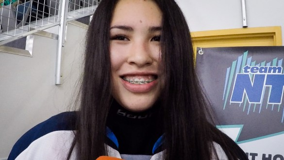 Team NT's Kyra McDonald is interviewed after scoring twice in her 2018 Arctic Winter Games semi-final