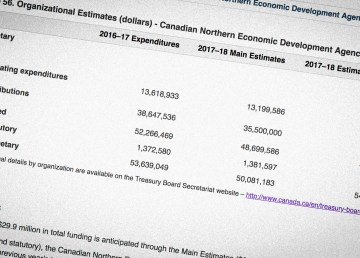 A detail from the federal government's 2018-19 main estimates
