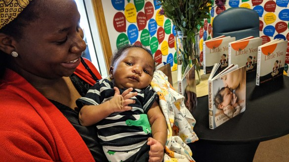 Eliam Shiringinyai, born in March 2018, rests in the arms of mother Samantha inside the obstetrics unit of Stanton Territorial Hospital