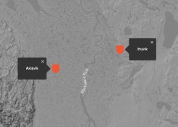Map of Aklavik and Inuvik