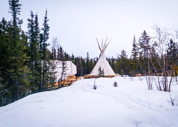The site of an Indigenous wellness camp in Yellowknife is pictured ahead of its official opening
