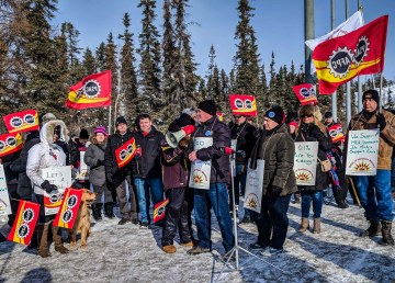 Union members protest outside the NWT legislature in March 2018