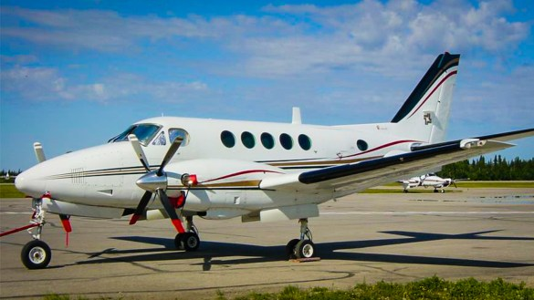 A Beechcraft King Air A100 aircraft owned by Landa Aviation rests on the tarmac in Hay River. Landa Aviation-Facebook