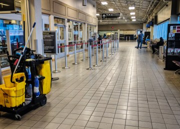 A cleaner works in Yellowknife Airport on January 5, 2018
