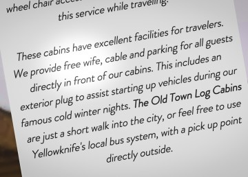 A screenshot of the Old Town Log Cabins website displays the inadvertent offer of a 'free wife' to guests