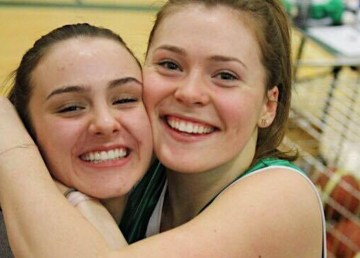 Hayley Tait, left, is pictured with team-mate Hannah Schauerte in a photo posted to Facebook in 2017