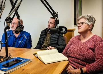 MLAs Shane Thompson, Kieron Testart, and Julie Green discuss cannabis at Cabin Radio in May 2018